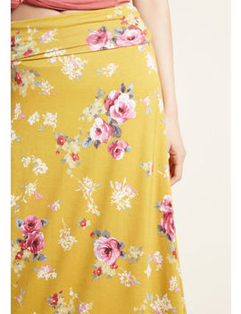 Sync Happy Thoughts Maxi Skirt In Mustard by Modcloth