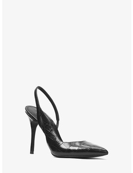 Eliza Crocodile Embossed Leather Pump by Michael Michael Kors