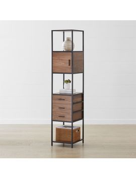 Knox Black Tall Narrow Storage Bookcase by Crate&Barrel