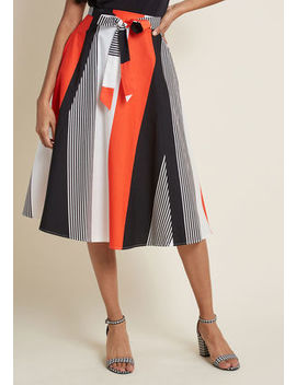 Collectif Imagined Adventures Cotton Midi Skirt In 22 (Uk) by Collectif