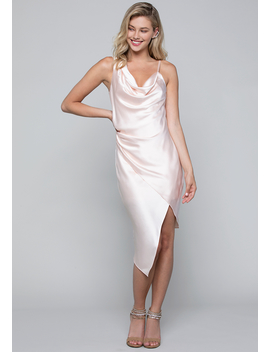 Satin Asymmetric Slip Dress by Bebe
