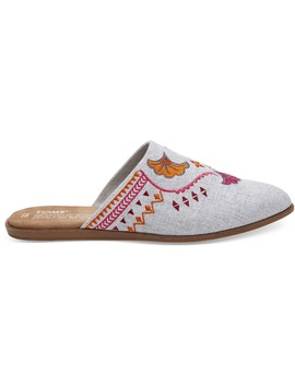 Embroidered Drizzle Grey Chambray Women's Jutti Mules by Toms