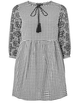 Black Gingham Embroidered Tunic Top by Dorothy Perkins