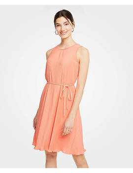 Micro Pleat Belted Dress by Ann Taylor