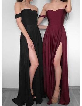 Simple Prom Dress,Off Shoulder Prom Dress,Chiffon Long Prom Dress, Burgundy Evening Dress,Formal Dress by Luulla