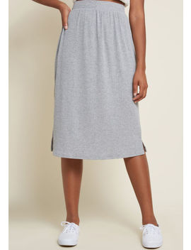 Simplistic Swing Ribbed Knit Skirt In Grey by Modcloth