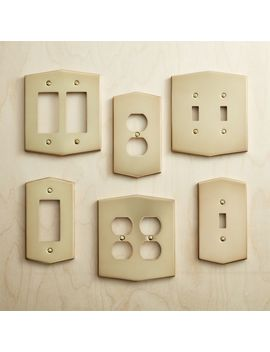 Hex Brushed Brass Wall Plates by Crate&Barrel