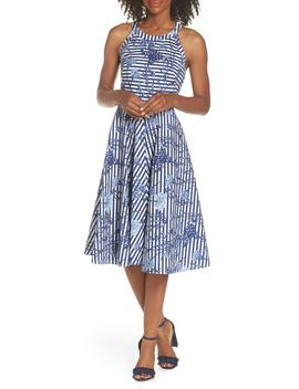 floral-stripe-halter-fit-&-flare-poplin-dress by eliza-j
