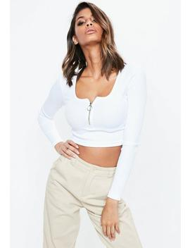 white-long-sleeve-scoop-neck-zip-front-rib-crop-top by missguided