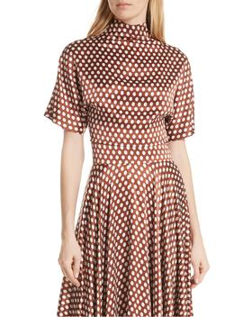 polka-dot-high-neck-crop-silk-blouse by dvf