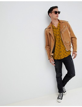 asos-design-tall-oversized-polka-dot-shirt-in-mustard by asos-design