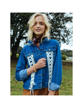Warp Lace Up Denim Jacket by Wet Seal