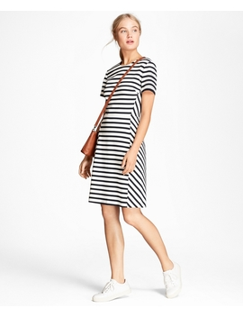 Striped Ponte Knit Dress by Brooks Brothers