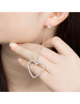 alloy-crystal-heart-dangle-earrings-women-jewelry-long-tassel-drop-earrings by unbranded