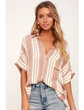 everyday-vacay-cream-and-tan-striped-button-up by lulus