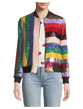 lonnie-zip-front-sequined-leather-bomber-jacket by alice-+-olivia
