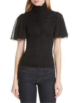 mock-neck-ruched-blouse by dvf