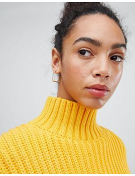 asos-design-hoop-earrings-with-split-square-shape-design-in-gold by asos-design
