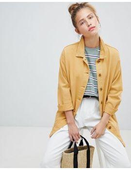 pull&bear-mustard-longline-denim-jacket by pull&bear