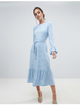 asos-design-jacquard-pephem-maxi-dress-with-belt by asos-design