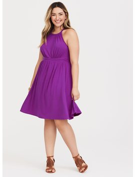 purple-high-neck-jersey-mini-dress by torrid