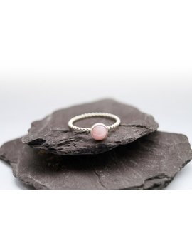 opulence-pink-opal-beaded-gemstone-sterling-silver-ring-~-statement-ring,-stacking-ring,-unique,-birthstone,-solitaire-ring,-stackable by etsy