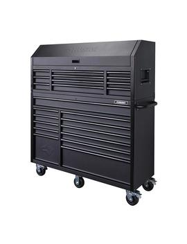 56-in-23-drawer-tool-chest-and-rolling-cabinet-set-18-ga-steel-22-in-d,-textured-black-matte by husky