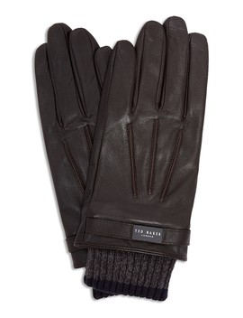 ribbed-knit-cuff-leather-gloves by ted-baker