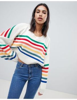 prettylittlething-rainbow-stripe-sweater by prettylittlething