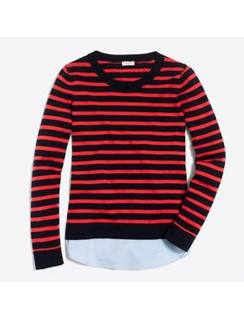 Striped Sweater With Woven Hem by J.Crew