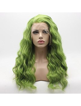 lace-front-synthetic-wig-curly-long-green-mix-multi-color-wigs-half-hand-tied-heat-friendly-wigs by lushy