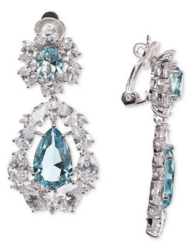 silver-tone-cubic-zirconia-cluster-clip-on-drop-earrings by nina