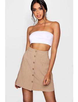 woven-mock-horn-button-&-seam-mini-skater-skirt by boohoo