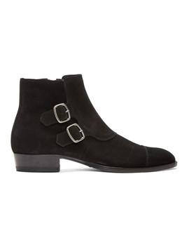 black-suede-jodhpur-wyatt-boots by saint-laurent