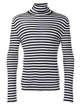 Men's Black Striped Roll Neck Sweater by Saint Laurent