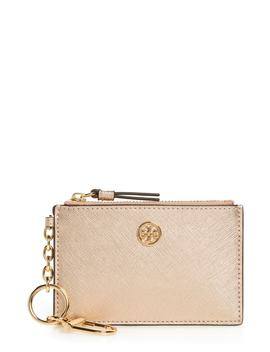 robinson-metallic-leather-card-case-with-key-chain by tory-burch