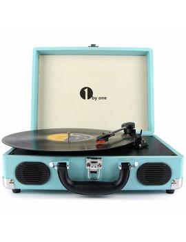 1byone-belt-drive-3-speed-portable-vinyl-turntable-with-built-in-speakers,-supports-rca-output-_-headphone-jack-_-mp3-_-mobile-phones-music-playback,-turquoise by amazon