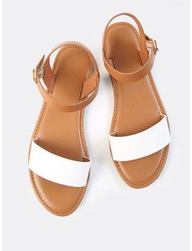 two-tone-pu-open-toe-sandals by shein