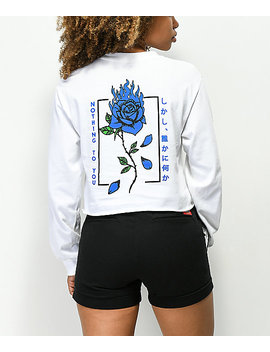 empyre-burning-blue-rose-white-crop-long-sleeve-t-shirt by empyre