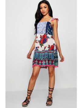 patchwork-print-pom-pom-smock-dress by boohoo