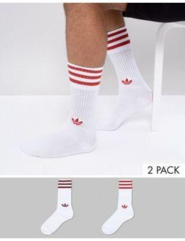 adidas-originals-adicolor-2-pack-crew-socks-in-red-ce5712 by adidas-originals