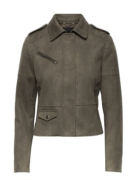 Vegan Stretch Suede Moto Jacket by Banana Repbulic