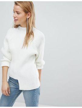 new-look---pull-en-maille-épaisse-côtelée-à-ourlet-plongeant by new-look
