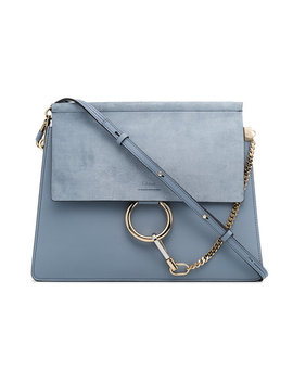 blue-faye-medium-leather-and-suede-shoulder-bag by chloé