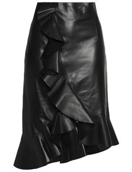 asymmetric-ruffled-glossed-leather-skirt by lanvin