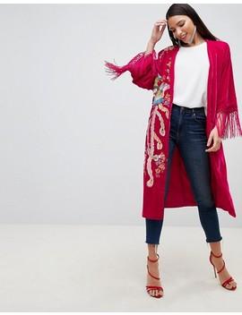 asos-design-velvet-embroidered-fringe-kimono by asos-design