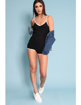 black-with-contrast-trim-ribbed-playsuit---raina by rebellious-fashion
