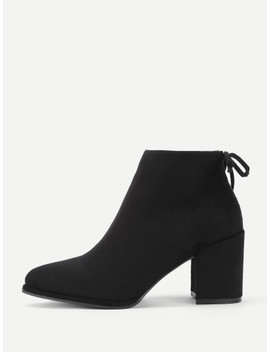 lace-up-back-block-heeled-ankle-boots by shein