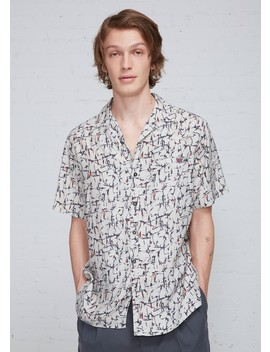 cracked-paint-print-bowling-shirt by lanvin