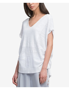 v-neck-drawstring-t-shirt by dkny